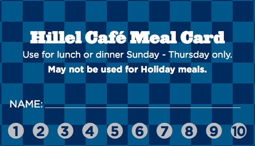 Hillel Cafe Meal Card